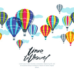 Vector horizontal seamless background with hot air balloons in the sky. Hand drawn doodle illustration. Design concept for summer travel, holidays and tourism banner, poster, backgrounds.