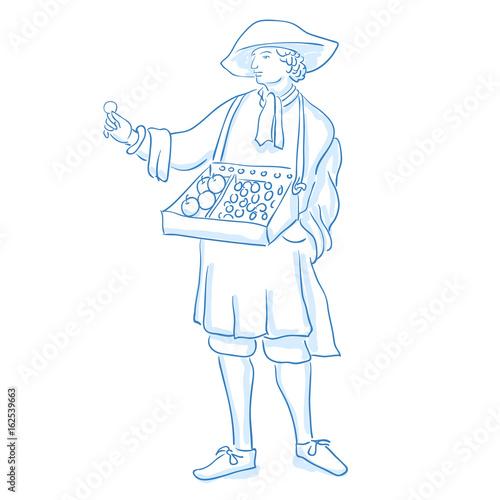 Fotografía  Medieval salesman, merchant marketer