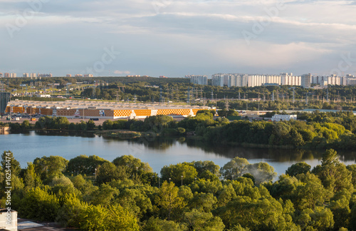 MOSCOW, RUSSIA - June, 2017: Kapotnya, Moskva Reka, Maryno and Brateevo, outskirts of UVAO Moscow, Russia. Summer view of city, park and Moscow River. Evening