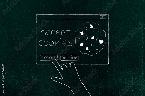 Photo hand about to click on Accept Cookie pop-up message