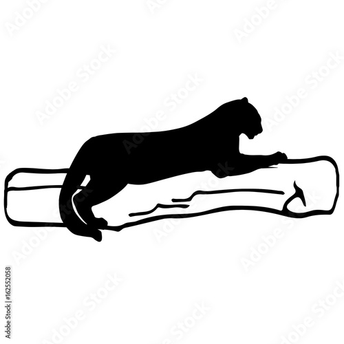 Photo  Vector silhouette of a black panther on a tree