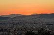 Sunset view of Athens from Lycabettus hill, Athens, Greece
