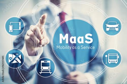 Fotomural  Maas, Mobility as a Service startup business concept illustration
