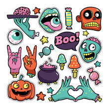 Halloween Set Of Patches In Ca...