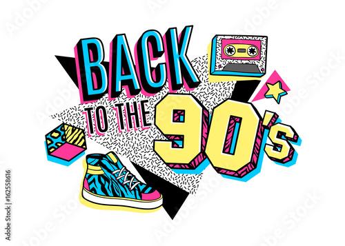 Papel de parede  Poster in 80s-90s memphis style.