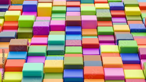 Zdjęcie XXL Abstrakcjonistyczny kolorowy sześcianu tło w 8K postanowieniu, 3D rendering