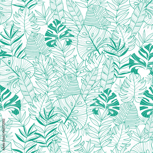 Fotomural Vector green tropical leaves summer hawaiian seamless pattern with tropical green plants and leaves on navy blue background