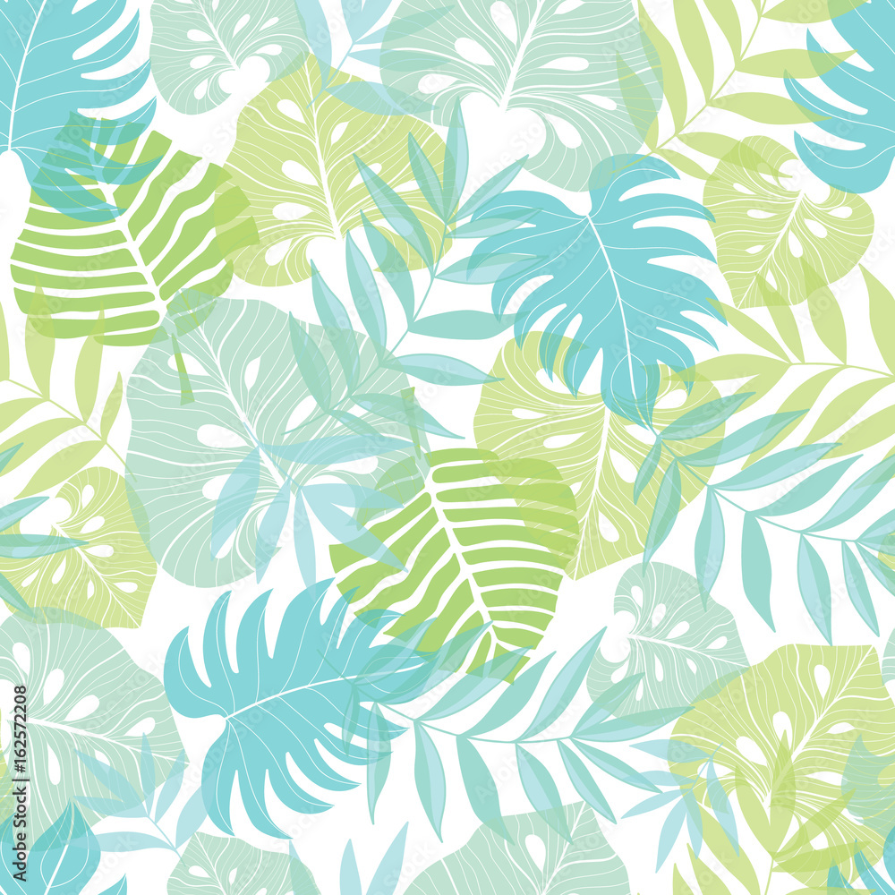 Fototapeta Vector light tropical leaves summer hawaiian seamless pattern with tropical green plants and leaves on navy blue background. Great for vacation themed fabric, wallpaper, packaging.
