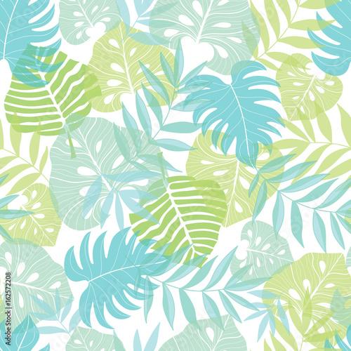 Wektor lekkich tropikalnych liści lato hawajski wzór z tropikalnych zielonych roślin i liści na granatowym tle. Idealne na wakacje tematyczne tkaniny, tapety, opakowania.