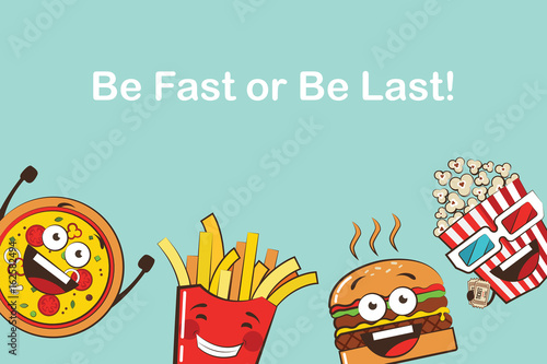 Cuadros en Lienzo set of funny fast food icons