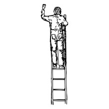 Asian Male Decorator Painting With A Paint Roller Climbed Up A Ladder - Vector Illustration Sketch Hand Drawn With Black Lines, Isolated On White Background