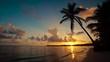 Sunrise over tropical island beach and palm trees Punta Cana Dominican Republic