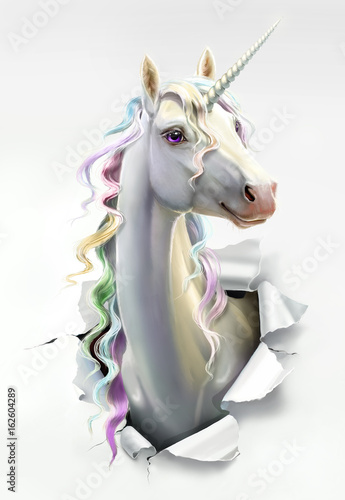 Stampa su Tela unicorn breaks through the paper, close-up