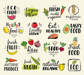 Panel Szklany Podświetlane Warzywa Healthy food hand drawn illustrations and elements for fresh market, eco food, vegan menu, natural products