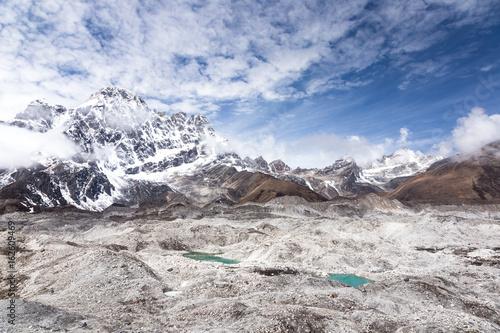 Valokuva  Huge Ngozumpa glacier and icy lakes