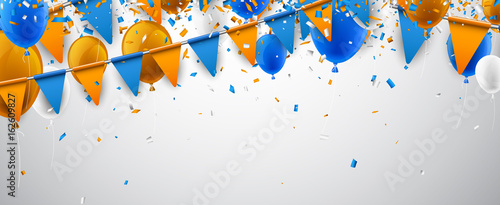 Obraz Banner with flags and balloons. - fototapety do salonu