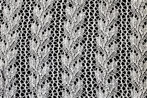 Poster Artificiel Vintage White Lace on Black Background
