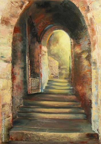 kamienne-schody-w-luku-przez-starozytna-sciane-oryginalny-obraz-olejny-na-plotnie-w-stylu-im