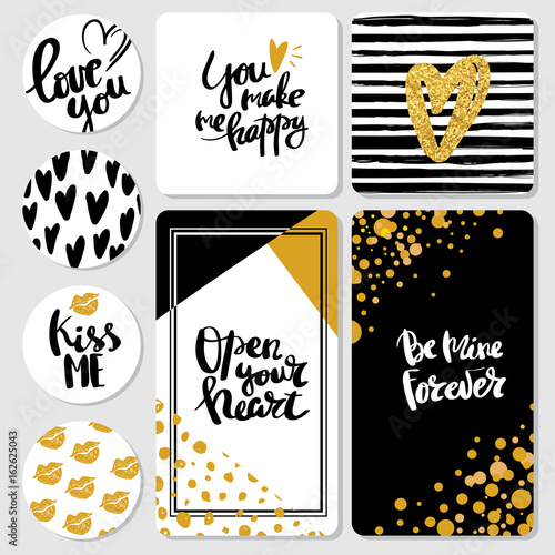 Valentine S Day Lettering Set Isolated Handwriting Calligraphy Love