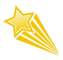 Retro Cartoon Pop Art Comic Style Shooting Star. Vector Illustration, Eps 10