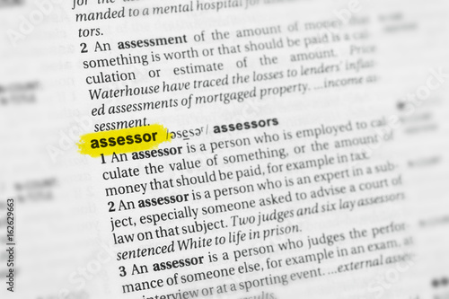 Highlighted English word assessor and its definition at the dictionary Canvas Print