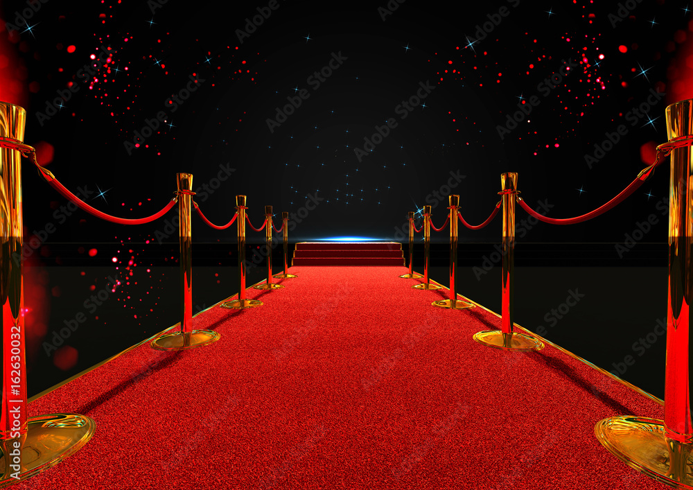 Fototapety, obrazy: long red carpet between rope barriers with stair at the end