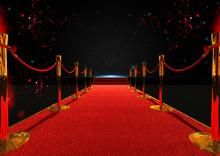 Long Red Carpet Between Rope B...