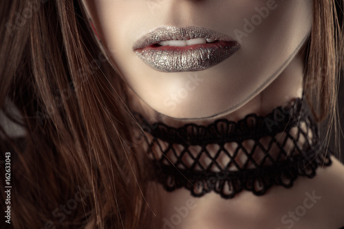 beautiful lips young girl with fashion choker Canvas Print