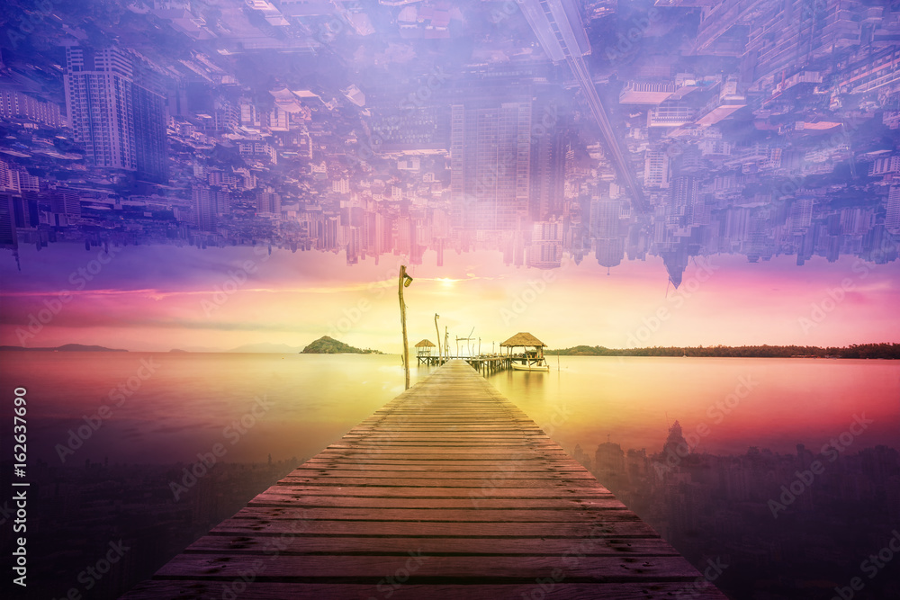 Fototapety, obrazy: abstract surreal landscape and cityscape sunset
