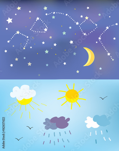 Poster Prune Weather elements and backgrounds for day and night