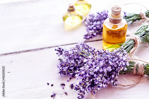 Valokuva  Spa background with lavender and essential oil