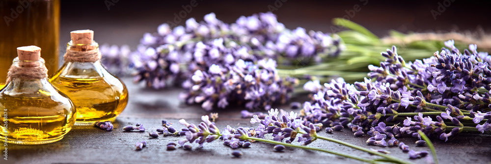 Fototapety, obrazy: Panoramic banner of lavender with essential oil