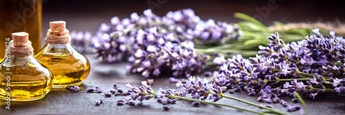 Foto op Aluminium Lavendel Panoramic banner of lavender with essential oil
