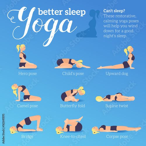 Yoga Poses For Better Sleep Vector Illustrations With Woman In Sport Bra And Shorts Doing Asanas From Insomnia And Relaxing Healthy Poster In Flat Vector Design On Blue Background Buy This