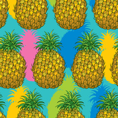 FototapetaVector seamless pattern with outline Ananas or Pineapple in bright color on the turquoise background. Fruit pattern with perennial tropical plant in contour style for exotic summer design.