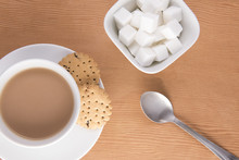 English Tea With Biscuits And Sugar Cubes In A Bowl
