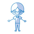 cute boy with glasses character icon vector illustration design