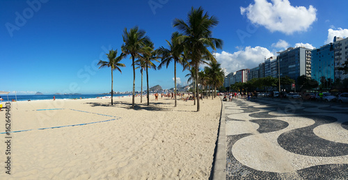 View of Copacabana beach with its famous mosaic on the boardwalk and coconut tre Poster