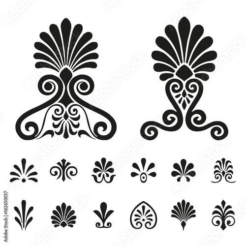 Fotografía Palmettes elements symbols vector set
