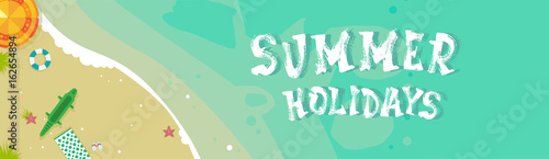 Wall Murals Green coral Summer Beach Vacation Seaside Sand Tropical Holiday Banner Flat Vector Illustration