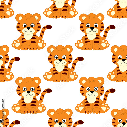 Vector Seamless Pattern with Cute Tigers. Vector Baby Tiger. Tiger Seamless Pattern Vector Illustration.  #162655412