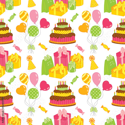 Vector Seamless Pattern with Cake, Balloons, Sweets and Gift Boxes Canvas-taulu