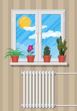 White Window With Flowers On W...