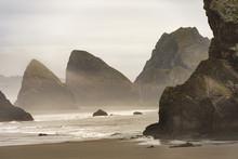 Beach Background: Bandon Beach On Oregon Coast, West Coast Of The U.S