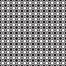 Black And White Tile Chessboard Pattern With Circles, Vector Squares Background. The Geometric Dot Pattern.