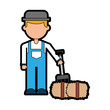 farmer character with straw block vector illustration design