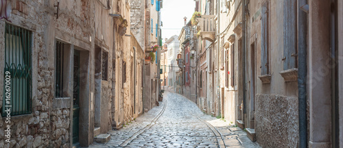 Canvas Prints Narrow alley Coastal old town small narrow street