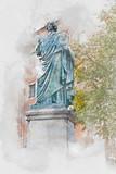 Pomnik Mikołaja Kopernika w Toruniu, cyfrowa ilustracja akwarela - 162670869