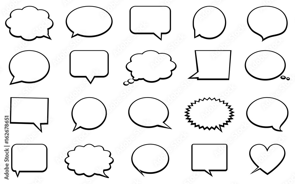 Fototapeta Stickers of speech bubbles vector set