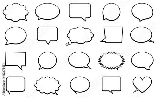 Cuadros en Lienzo Stickers of speech bubbles vector set